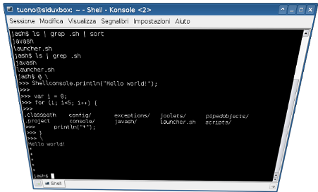 Screenshot of a JavaSh session